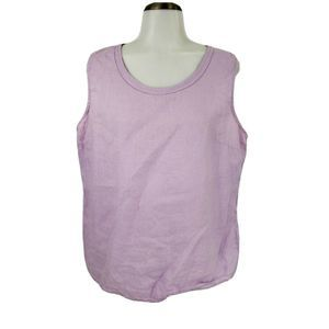 LL Bean 100% Linen Top Sleeveless Blouse Lilac